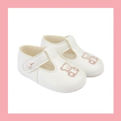 Girls White/Pink Teddy Bear Baypod Pram Shoes